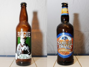 Rogue Irish Lager and Samuel Adams Octoberfest