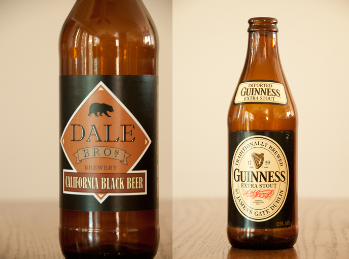 Dale Bros California Black Beer and Guinness Extra Stout