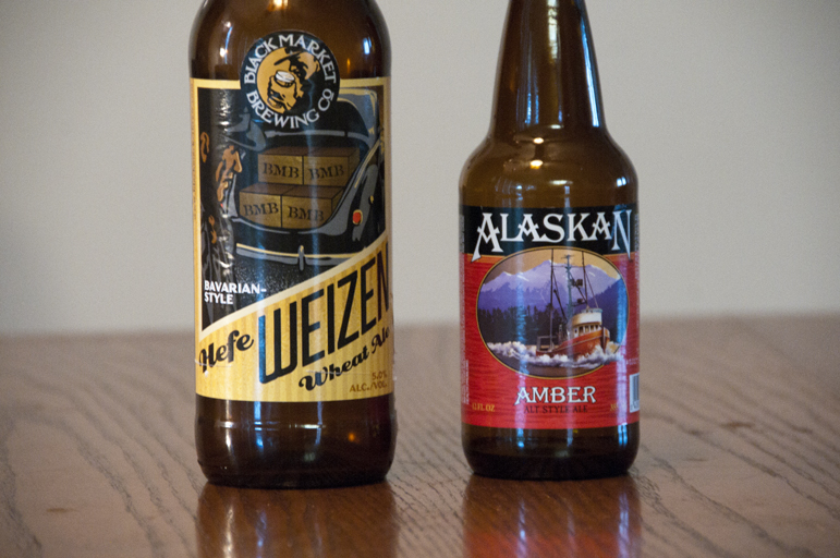 Black Market Brewing Co Hefeweizen and Alaskan Brewing Co Amber