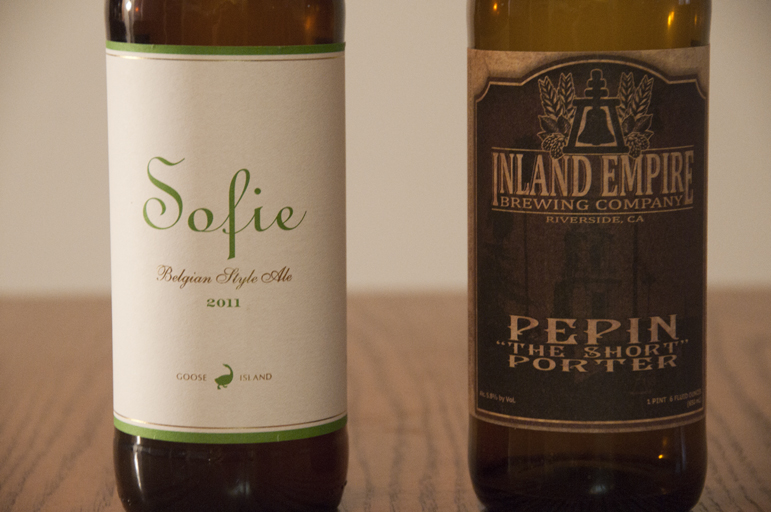 "Goose Island Beer Co. Sofie Belgian Style Ale and Inland Empire Brewing Company Pepin ""The Short"" Porter"