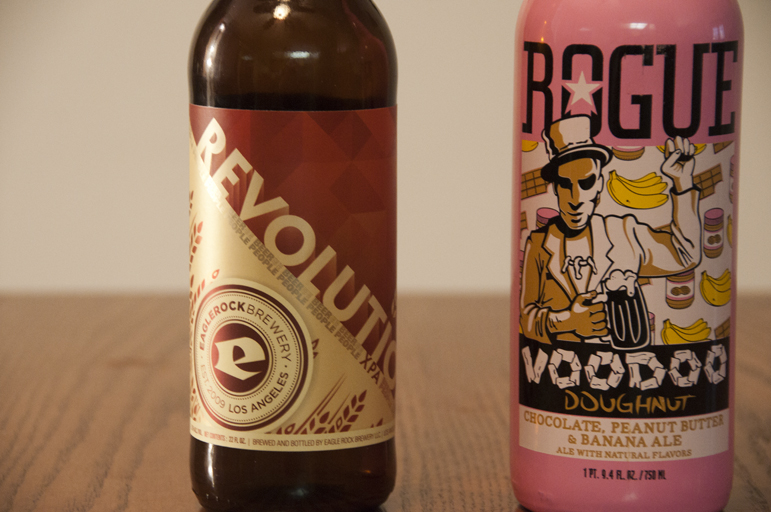 Eagle Rock Brewery Revolution XPA and Rogue Voodoo Doughnut Chocolate Peanut Butter Banana Ale