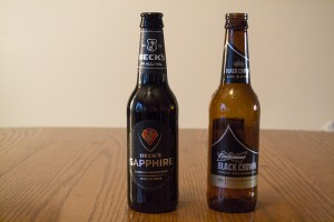 Beck's Sapphire and Budweiser Black Crown