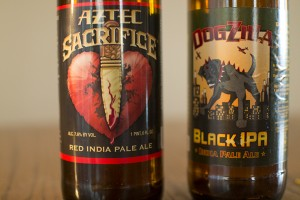 Aztec Brewery Aztec Sacrifice Red India Pale Ale and Laughing Dog Brewing Dogzilla Black IPA