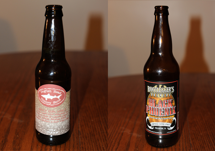 Dogfish Head Chicory Stout and Bootlegger's Black Phoenix Chipotle Coffee Stout