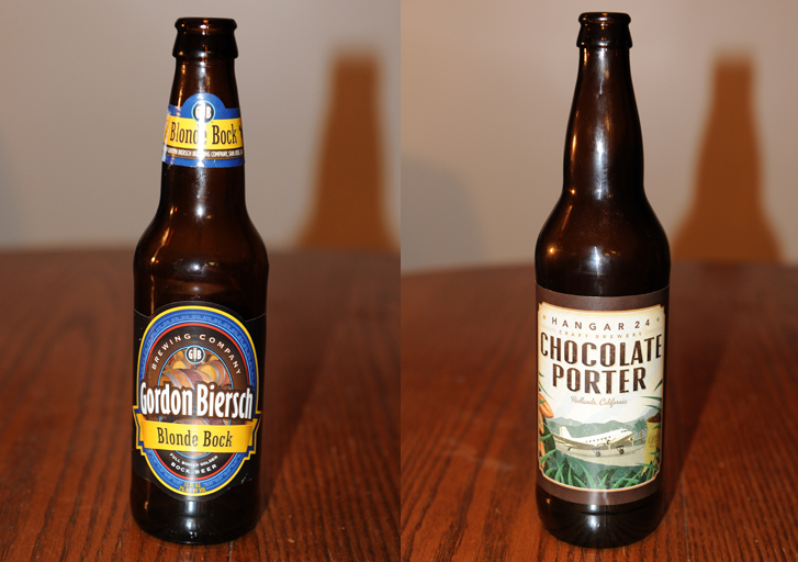 Gordon Biersch Brewing Co. Blonde Bock and Hanger 24 Craft Brewery's Chocolate Porter