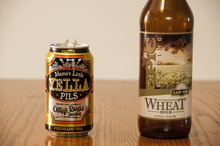 Oskar Blues Brewery Mama's Little Yella Pils and Epic Brewing Intermountain Wheat Beer