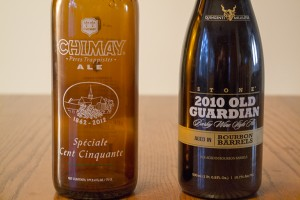 Chimay Spéciale Cent Cinquante and Stone 2010 Old Guardian Barley Wine Ale Aged in Bourbon Barrels