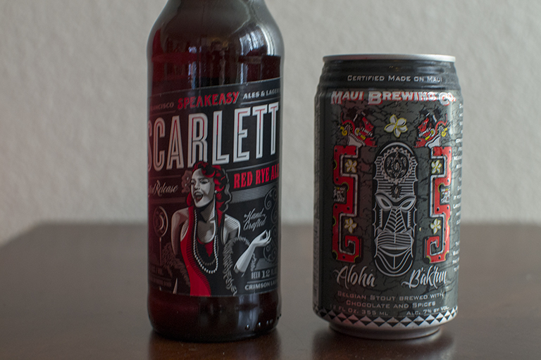 Speakeasy Ales & Lagers Scarlett Red Ale and Maui Brewing B'ak'tun
