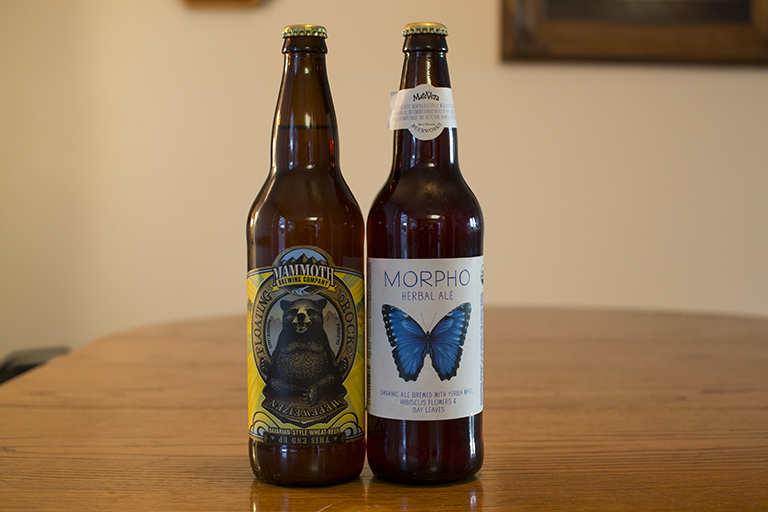 Mammoth Brewing Company Floating Rock Hefeweizen and MateVeza/Mill Valley Beerworks Morpho Herbal Ale