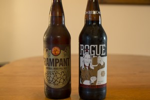 Rogue Chocolate Stout and New Belgium Rampant Imperial IPA