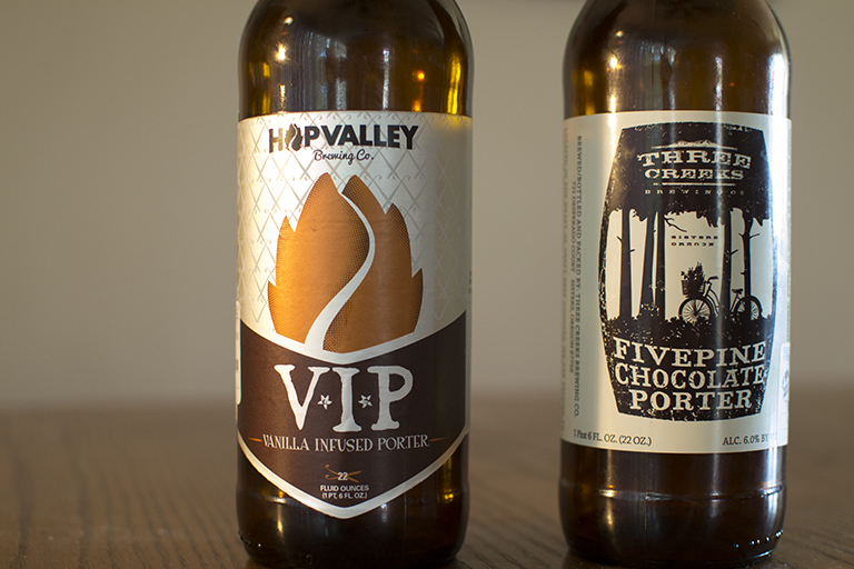 Hop Valley Brewing Company (V.I.P.) Vanilla Infused Porter and Three Creeks Brewing Co Fivepine Chocolate Porter